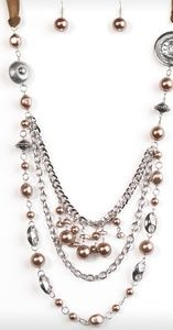 Brown & Silver Bead Necklace